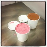 Our first two take away Gelato cups - Chocolate 70% and Strawberry